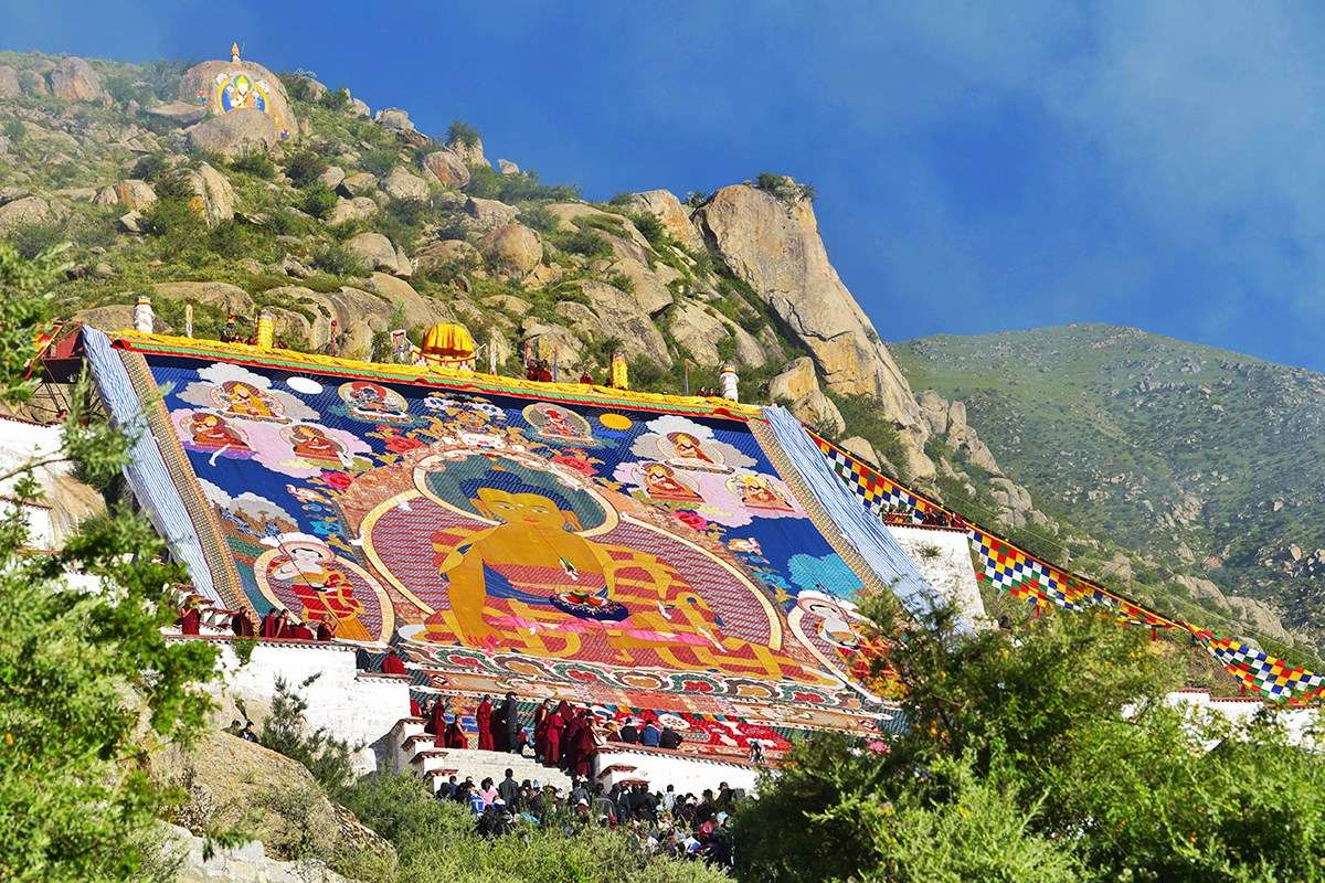 Thangka Unfolding at Drepung during Shoton Festival