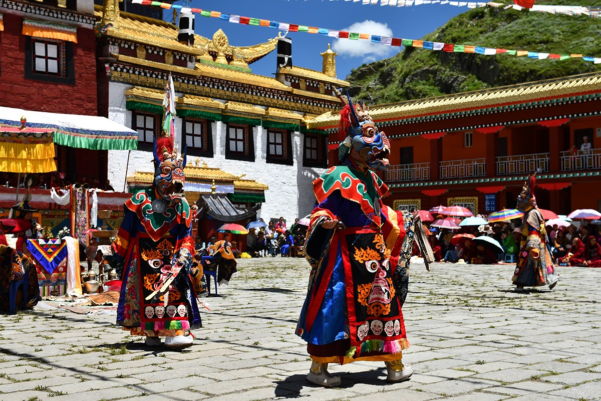 Mask Dance (Cham) Festival in Tagong Monastery