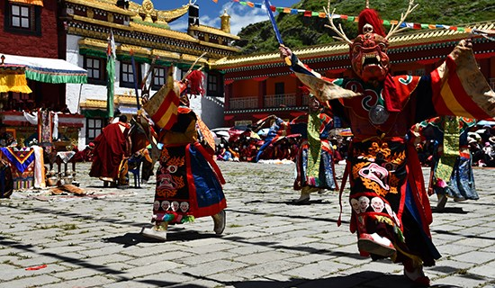 Mask Dance (Cham) Festival at Tagong Monastery