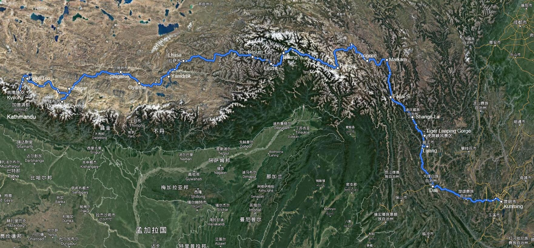 Overland Tour from Yunnan via Tibet to Nepal with Everest BC