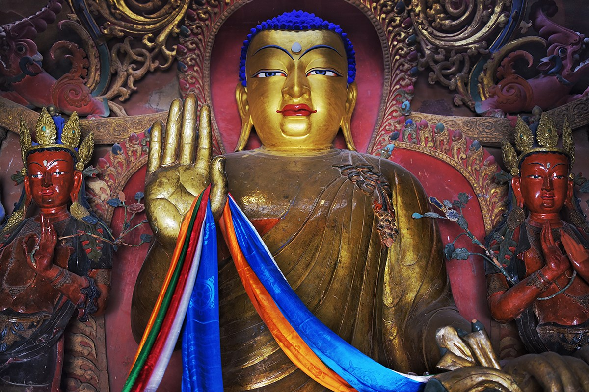 Buddha Statue in Kumbum Stupa of Palkhor Monastery | Photo by Liu Bin