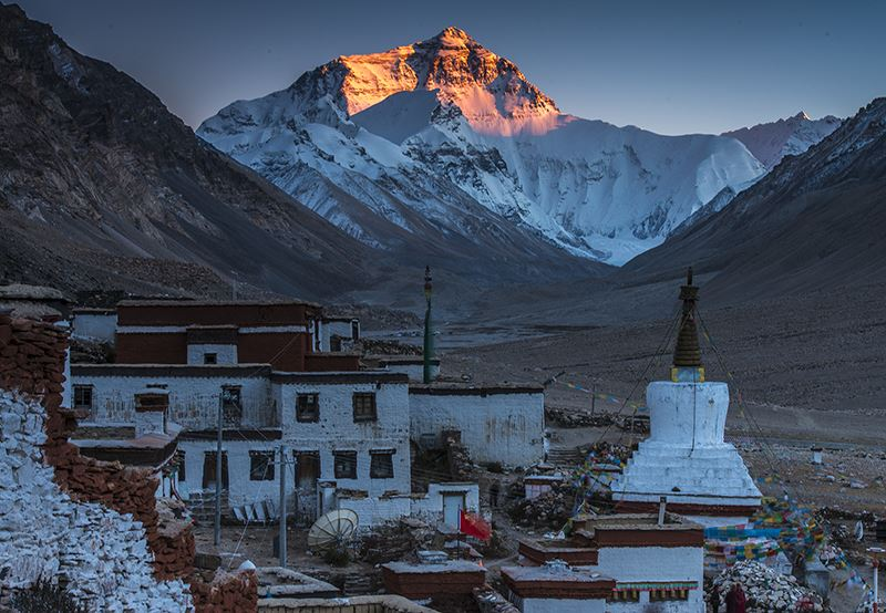 Rongbuk Monstery and Mountain Everest