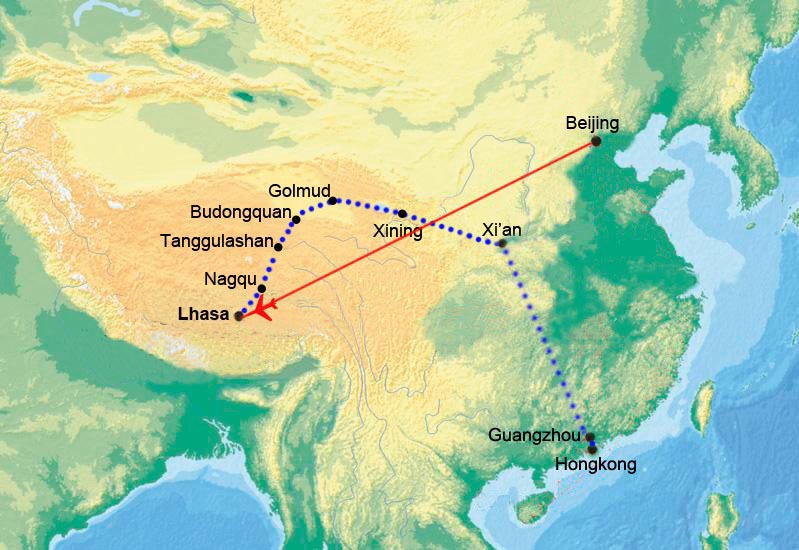 China Highlights with Tibet Train from Lhasa to Guangzhou and Hong Kong